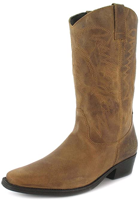 Stivali Nuovi Da Uomo Marroni Wrangler Alti da infilare stile cowboy -  Taglie UK 6-12 - Marrone 847e402f63b