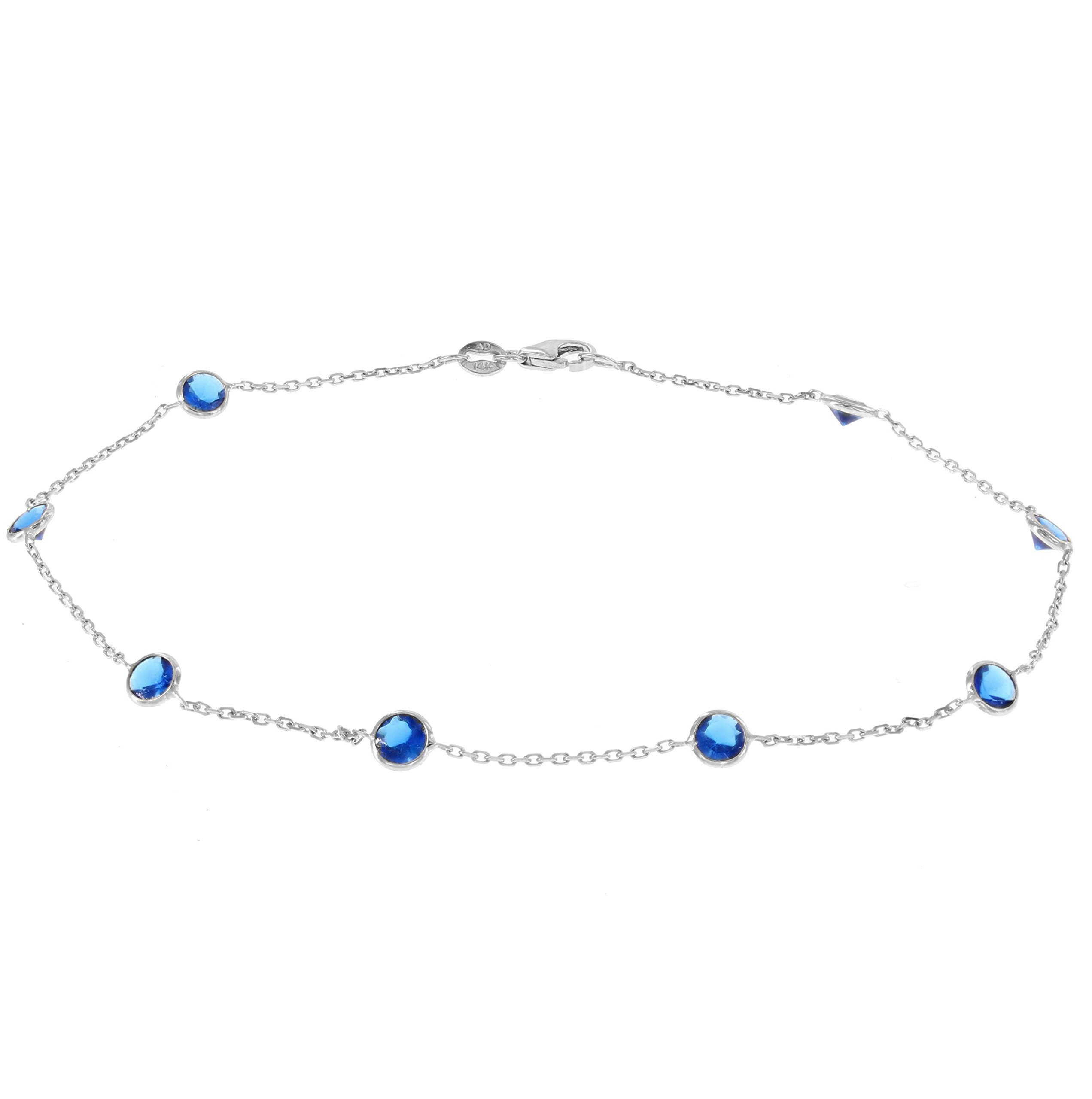 14k White Gold Ankle Bracelet With Blue Cubic Zirconia Stations (9 - 11 inches)