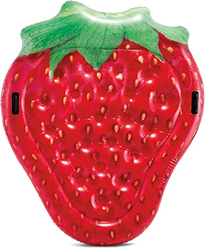 Intex-Red-Strawberry-Inflatable-Island,-63in-x-52in-x-10in