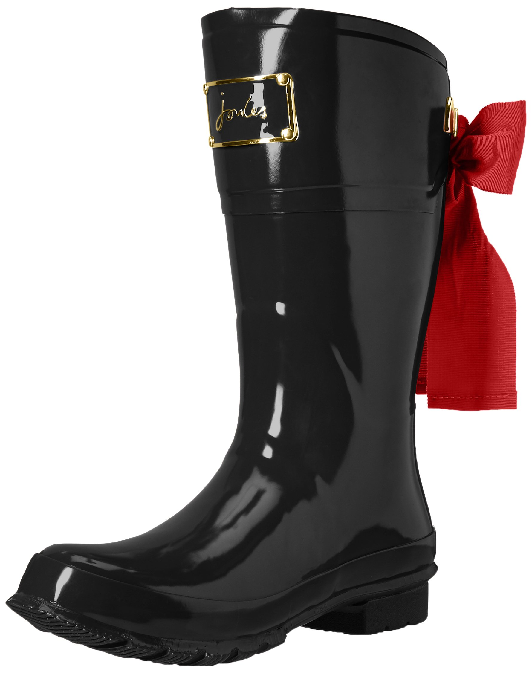 Joules Women's Evedon Short Rain Boot, Black, 5 M US