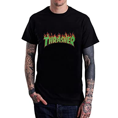 af1be3f9c8e7 Amazon.com  Men s Green Thrasher Flame Logo T-shirt L Black  Clothing