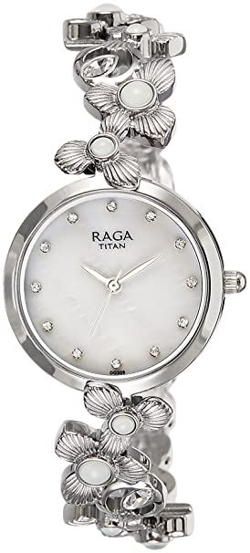 Titan Raga Aurora Analog White Dial Women's Watch-95048SM01 Women at amazon
