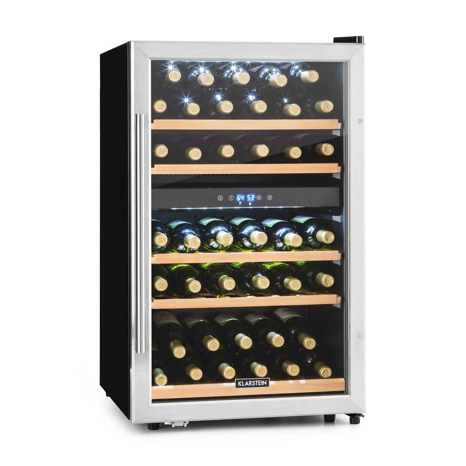 KLARSTEIN Vinamour 40D Wine Refrigerator • Beverage Cooler • 2 Cooling Zones • 4.8 Cubic Feet • LCD-Display • Stainless Steel Front • Touch Control Panel • 5 removable Shelf Racks • Silver