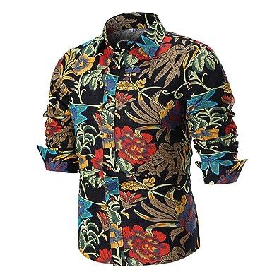 Camisa de Lino de Manga Larga para Hombre, Cuello abatible, Corte ...