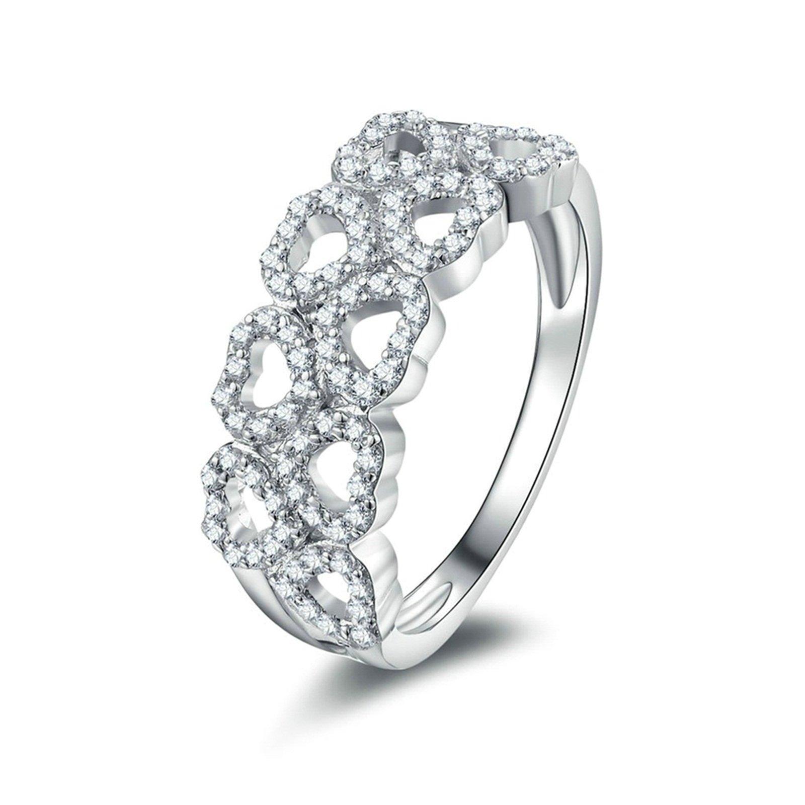Beydodo Wedding Band Diamond Hollow Heart Ring Round White Cubic Zirconia Size 8 Anniversary Gift