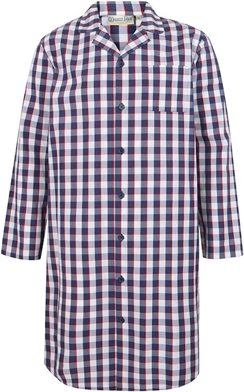 Medium to XXXL Walker Reid Mens Navy Check Nightshirt Cotton Button Up Classic Nightwear