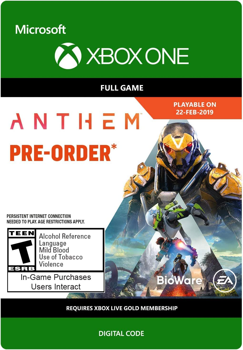 Amazon com: Anthem - Xbox One [Digital Code]: Video Games
