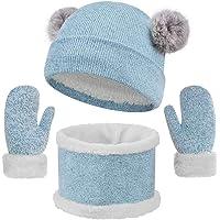 heekpek Set de Bufanda Gorro y Guantes para Niña Niños 3 Piezas Sombreros de Caliente Punto Bufanda Guantes con Forro de…