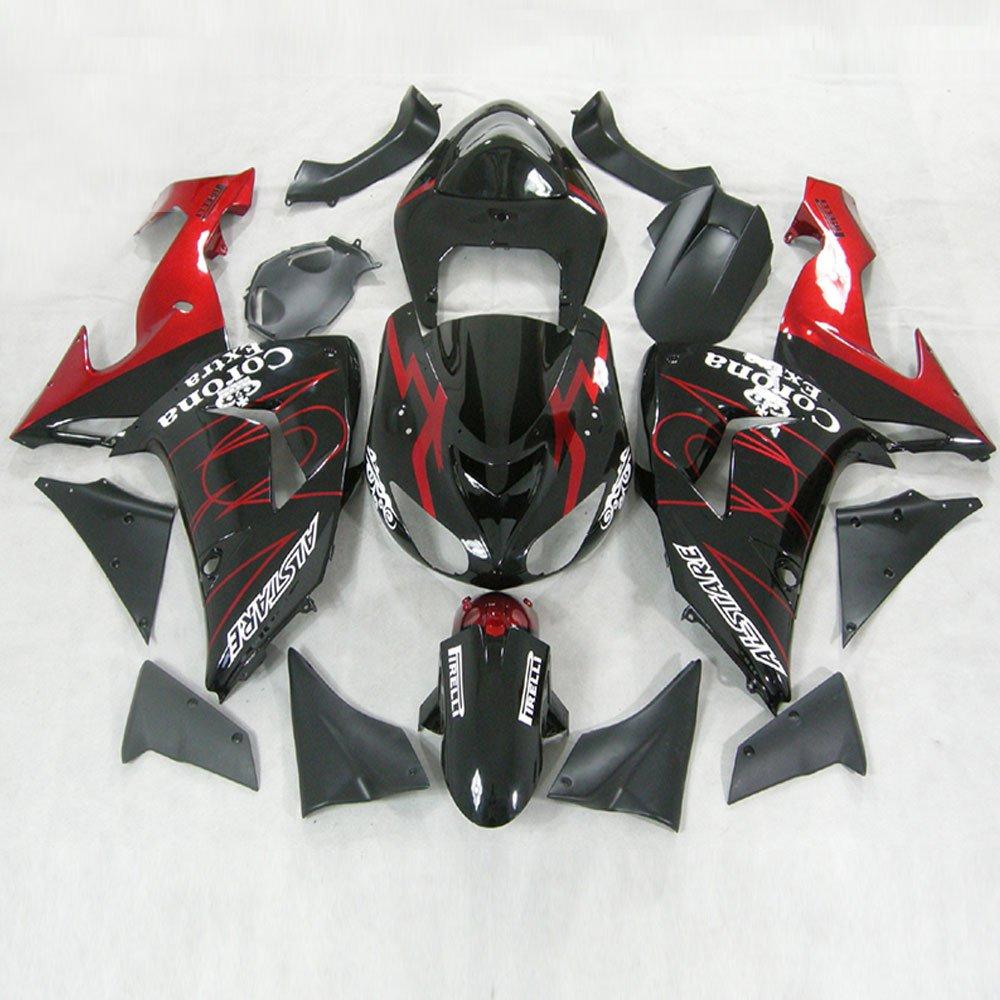 Moto Onfire ABS Plastic Injection Fairings Kit Aftermarket Bodywork Frame Fit For Kawasaki Ninja ZX10R 2006 2007 Black Red