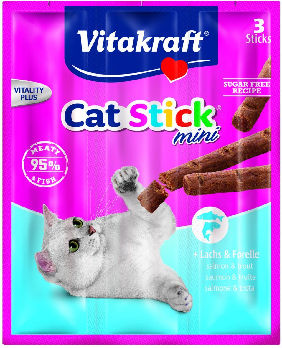 Vitakraft Cat Stick Mini Salmon, Palos para Gatos - Pack de 20 x 20 x 18 g: Amazon.es: Productos para mascotas