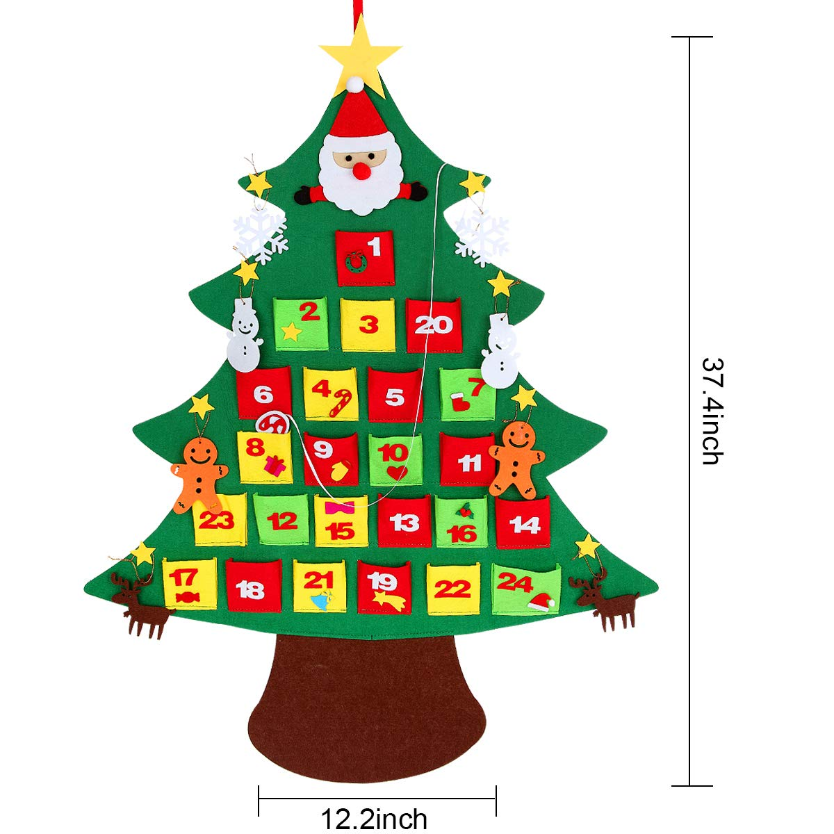 Kefan 3ft Felt Christmas Tree Wall Hanging Christmas Tree Set With Ornaments For Kids Xmas Diy Decorations Advent