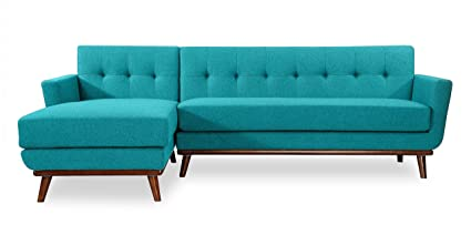 amazon com kardiel lf turquoise jackie mid century modern sectional rh amazon com mid-century modern small space sectional sofa with reversible chaise mid century modern sectional sofa for sale