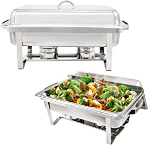 2 Pcs Rectangle Stainless Steel Chafing Dish with Water Pan Buffet Chafer with Lid and Foldable Rack Food Warmer Buffet Server for Parties Restaurants Catering Supplies
