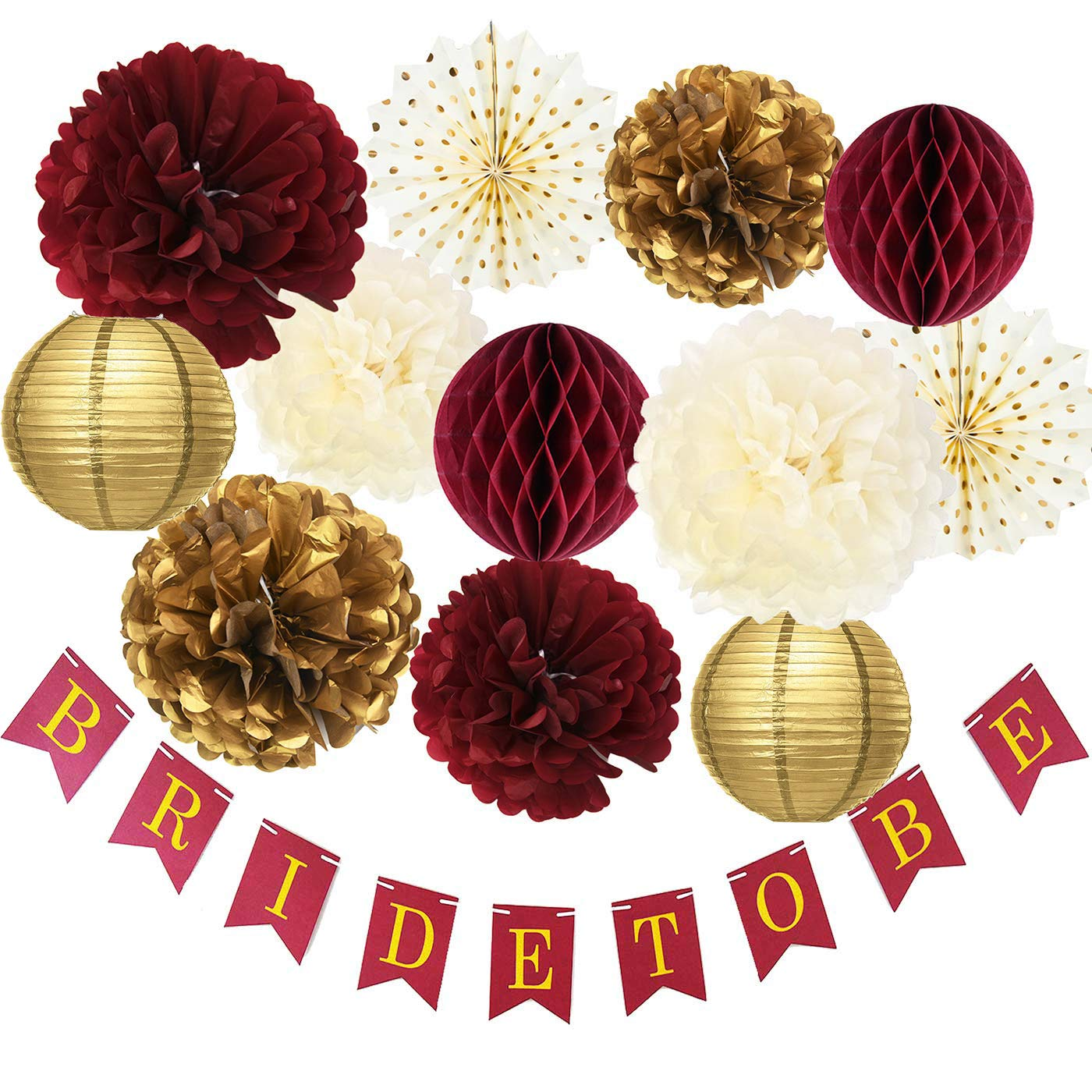 Burgundy Gold Bridal Shower Decorations/Fall Wedding Decorations Burgundy Tssue Pom Pom Honeycomb Balls Polka Dot Fans Bride to Be Banner for Burgundy Wedding/Bachelorette Party Decorations by Qian's Party