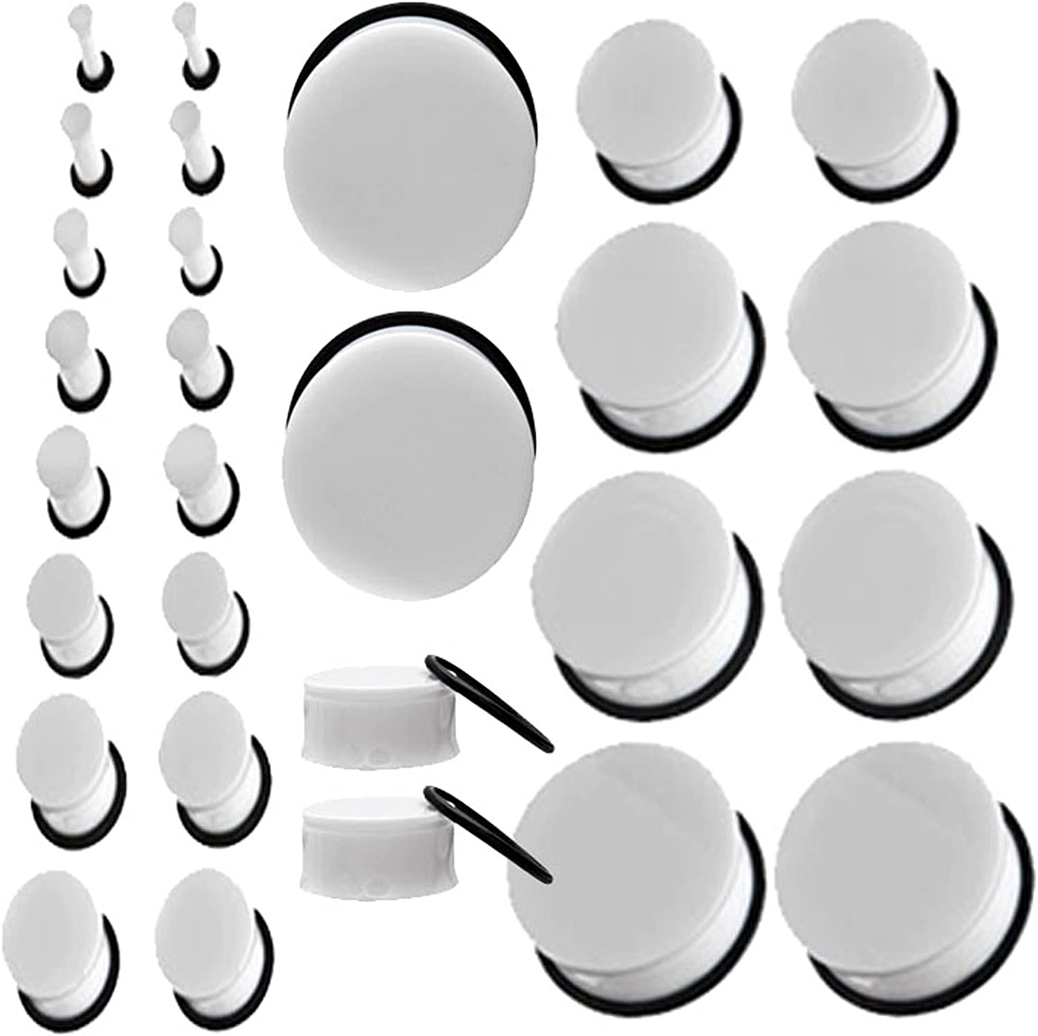 MallGoodies White Single Flare Acrylic Earlets Solid Ear Plugs 10G Gauge to 1-3//16 Inch 1 Pair Each Size 2.5mm to 30mm