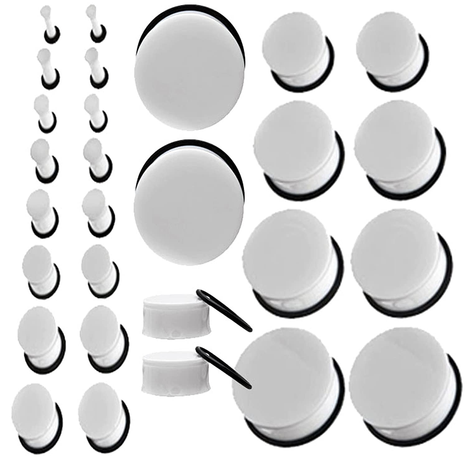 White Single Flare Acrylic Earlets Solid Ear Plugs 10G Gauge to 1-3/16 Inch (2.5mm to 30mm) 1 Pair Each Size MallGoodies Inc. ~V018