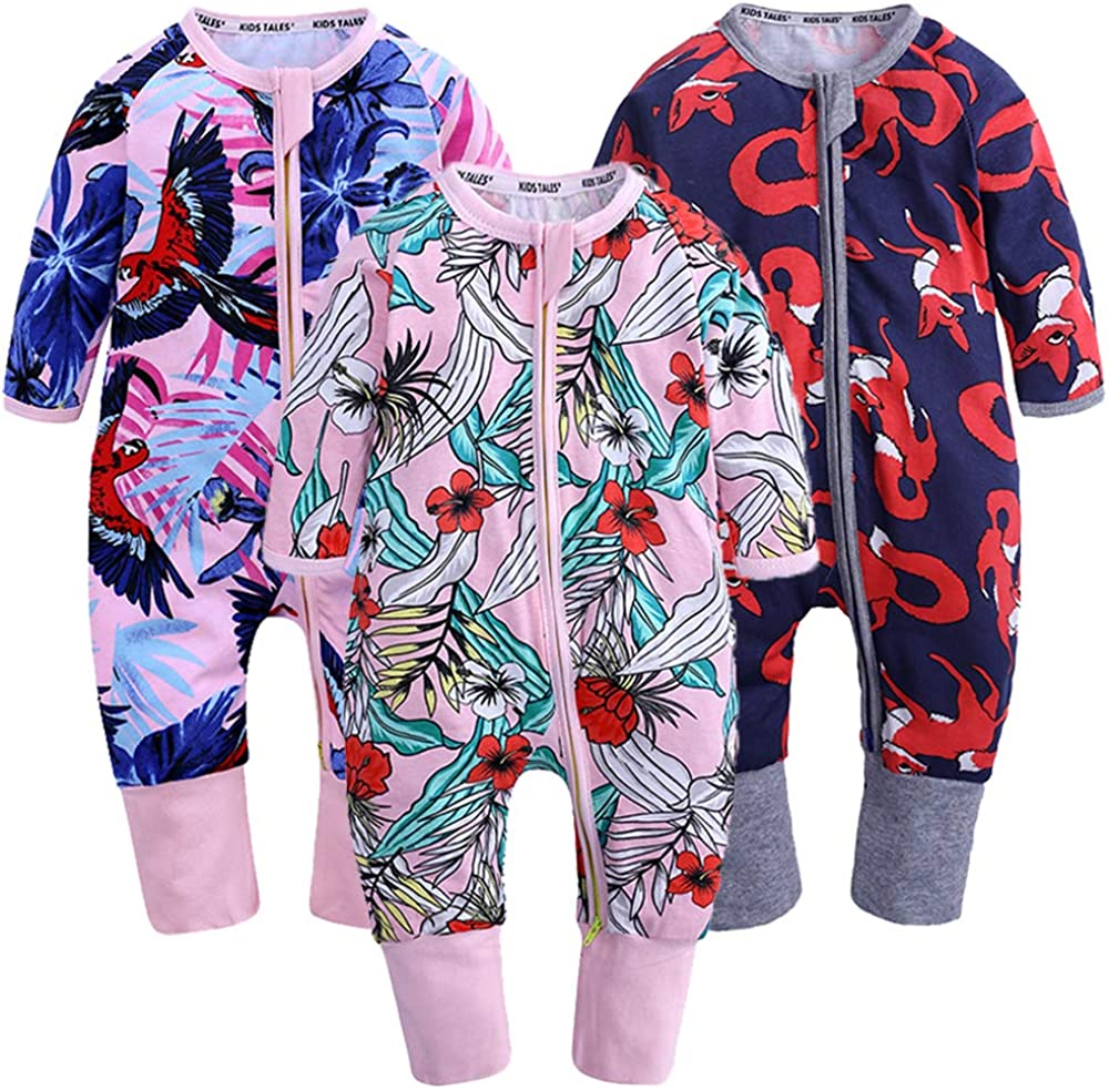 Kids Tales 3 Pack Baby Girls Footies Pajama Sleeper Cotton Graphic Zipper Romper