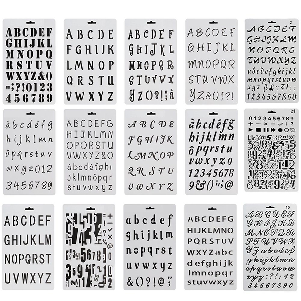 Amazon.com: Debolic 15 Pack Alphabet Letter Number Stencils Plastic Bullet Journal Drawing Painting Stencil Supplies Template for Painting and Crafts: ...