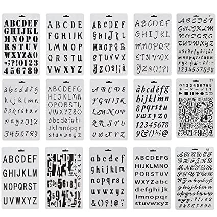 Amazon 15 Pack Alphabet Letter Number Stencils Plastic Bullet