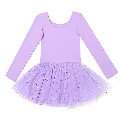 20de9b9521e TiaoBug Enfant Fille Justaucorps de Danse Tutu Robe de Ballet Classique Robe  à Manches Longues Body