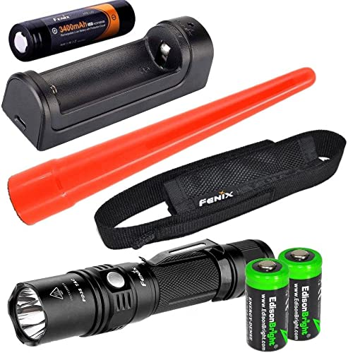 Fenix PD35 2015 TAC Edition 1000 Lumen CREE LED Tactical Flashlight w ARB-L2S Rechargeable Battery, are-X1 Charger, Holster, AOT-S Traffic Wand 2X EdisonBright CR123A Lithium Batteries Bundle