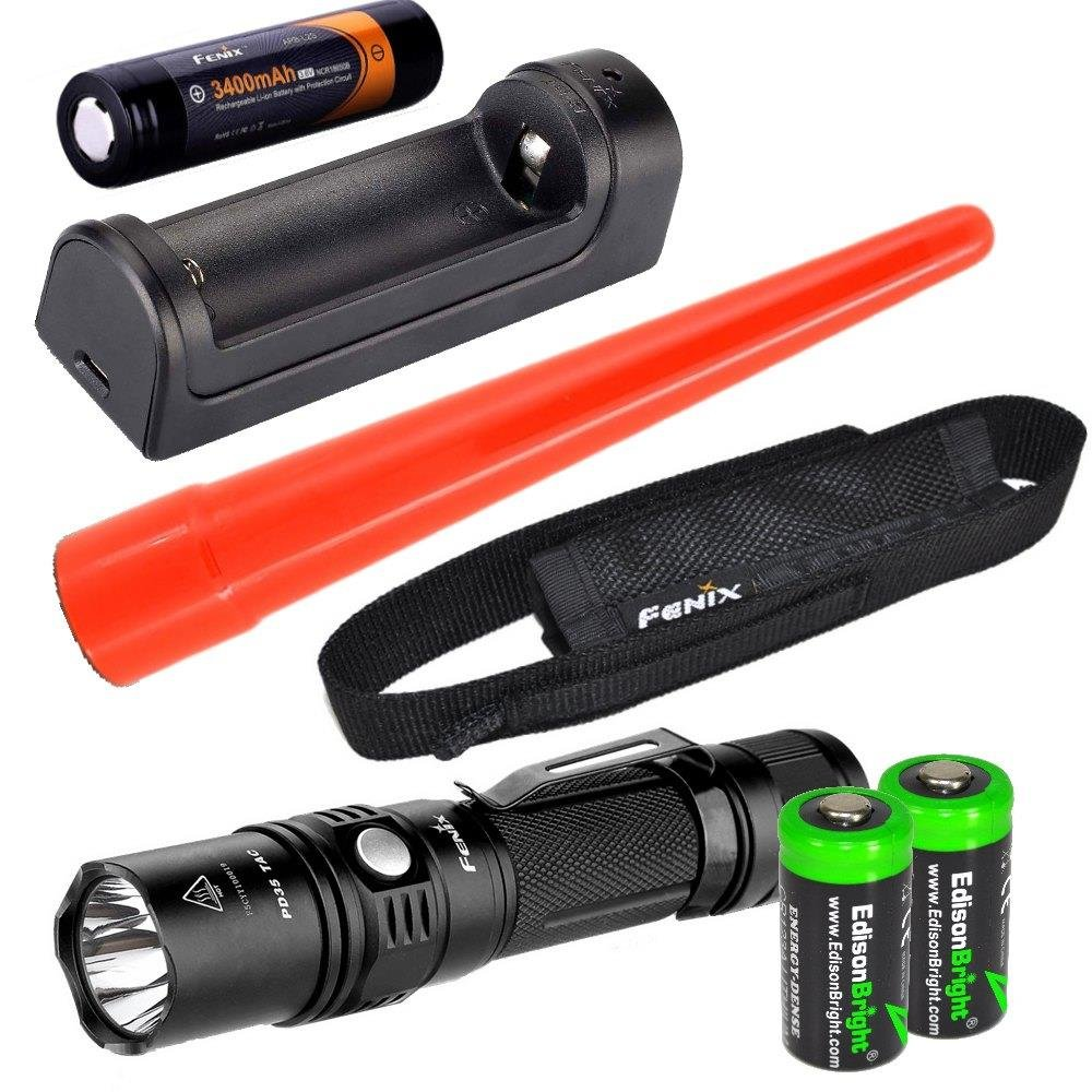 Fenix PD35 2015 TAC Edition 1000 Lumen CREE LED tactical flashlight w/ ARB-L2S rechargeable battery, ARE-X1 charger, holster, AOT-S Traffic wand & 2X EdisonBright CR123A lithium batteries bundle