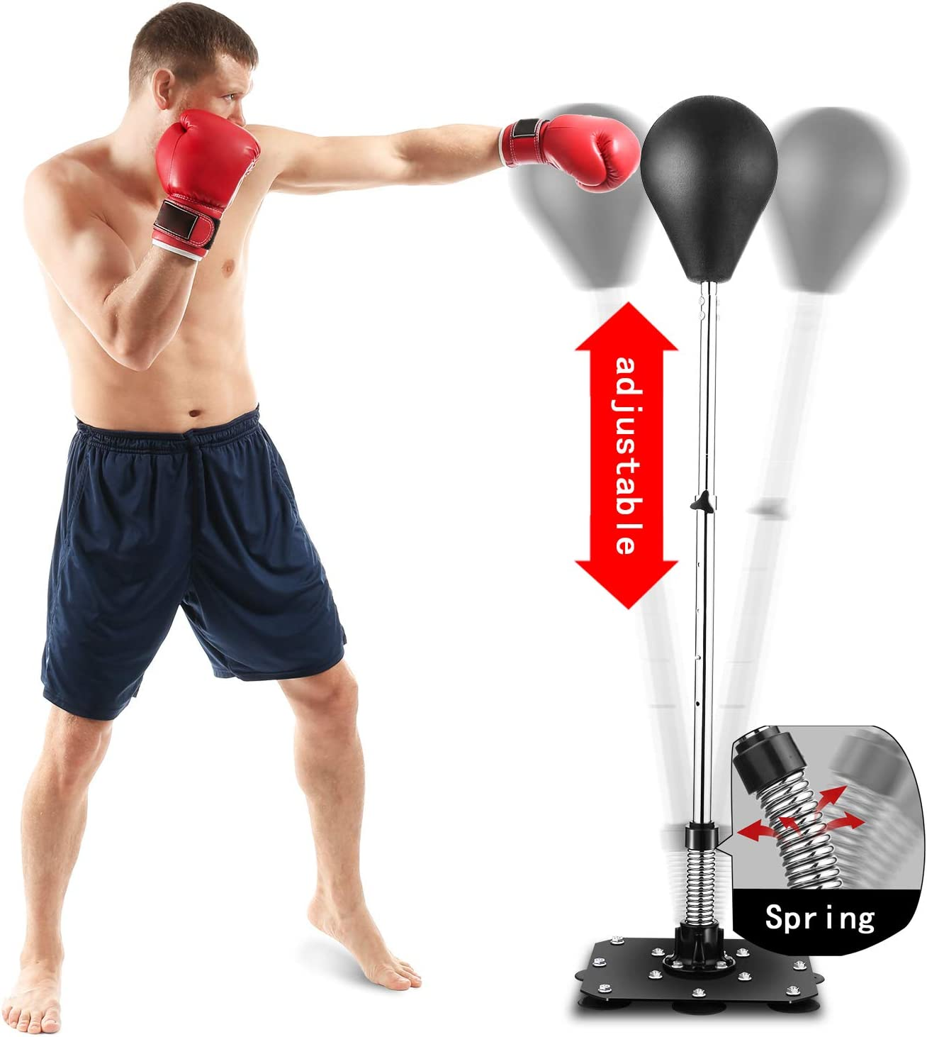 Reflex Bag Speed Punching Bag with Adjustable Height Free Standing Punching Bag Strong Durable Spring Withstands Tough Hits for Adults & Teenagers
