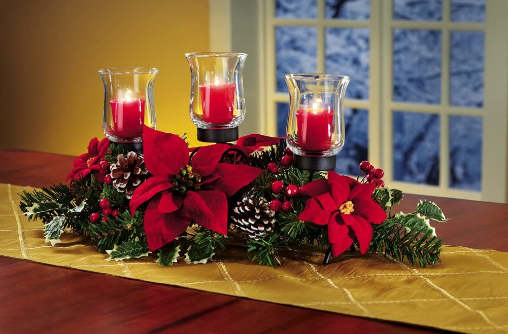 Collections Etc Christmas Poinsettia Candle Holder Centerpiece with Pinecones, Red