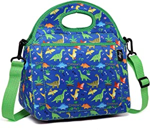 Kasqo Lunch Bag for Kids, Neoprene Insulated Boys Lunch Boxes Children's Lunch Tote with Front Pocket and Detachable Adjustable Shoulder Strap in Cute Dinosaur