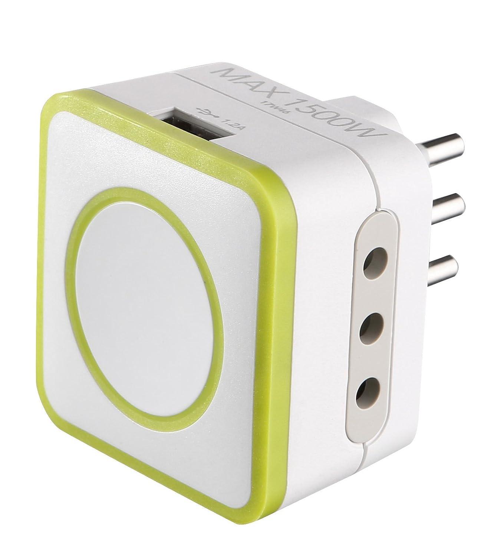 Verde Electraline 72081 Adattatore Triplo 2 Prese 10A e 1 USB Output 1.2A