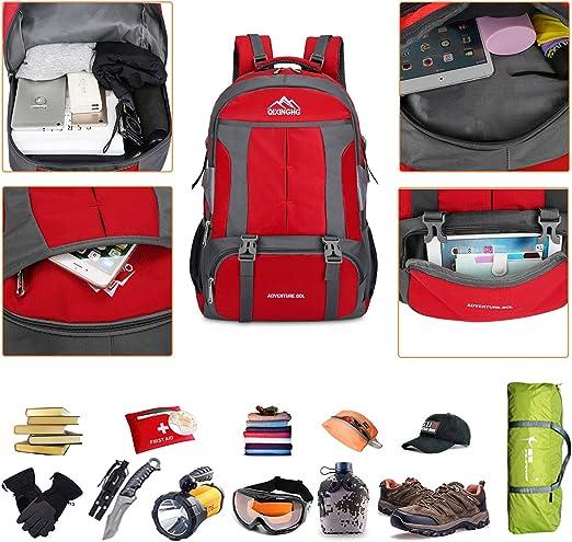60L Mochila de Escalada para Camping Deportes Monta/ñismo Trekking Camping al Aire Libre Bioasis Mochila de Senderismo