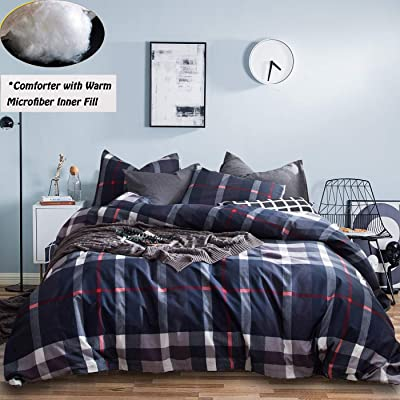 Jumeey Buffalo Plaid Comforter Set Queen Navy Blue Brown Grid Gingham Bedding Full White Dark Red Multicolor Checkered Comforter Sets Full Men Boys Adults Teen Warm Cotton Comforter Blanket Queen Size: Home & Kitchen