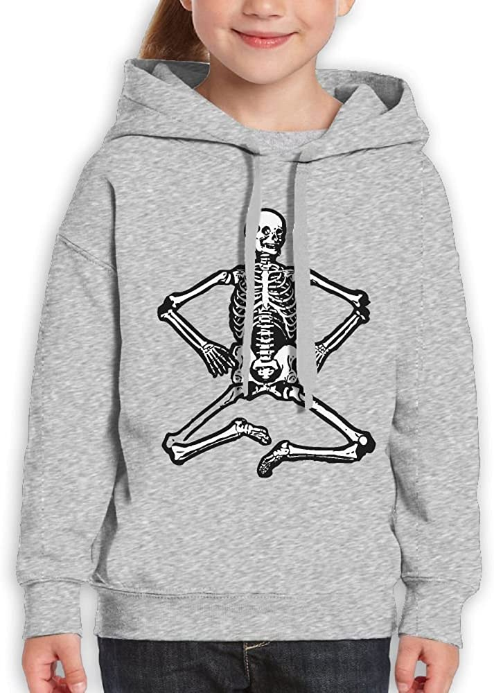 DTMN7 Skeleton Funny Cool Sit Graphic Printed Crew-Neck Hoodie For Teen Girl Spring Autumn Winter
