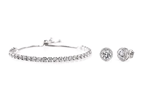 2f90b5a3c7e29 INSPIRED BY YOU. Round Prong Set Cubic Zirconia Adjustable Bridal Tennis  Bracelet and Stud Bridal Earring Set for Women in 925 Sterling Silver ...
