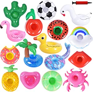 Max Fun Inflatable Drink Holders with 1 Inflatable Pump, Drink Inflatable Cup for Kids Swimming Pool & Outdoor Water Toys and Pool Party ( 16PCS ) (Style 1)