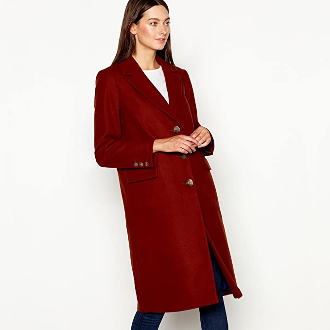 sale online shades of huge discount Red Herring Womens Terracotta Single Breasted City Coat 8 Red: Red ...