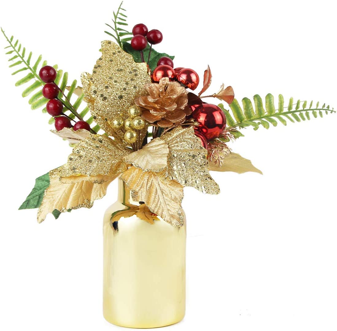 ZYAO Artificial Flowers in Vase Poinsettia Pinecones Bouquet Fake Christmas Flowers Picks Centerpieces for Bathroom Counter Living Room Tabletop Decor Kitchen Coffee Table Decorations for Xmas
