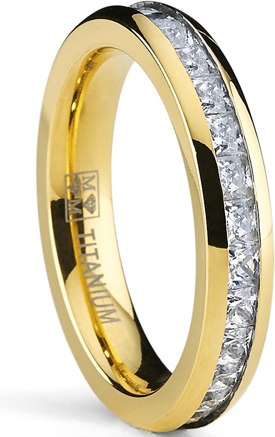 Metal Masters Co. 4MM Goldtone Plated Princess Cut Women's Eternity Titanium Ring Wedding Band with Cubic Zirconia CZ