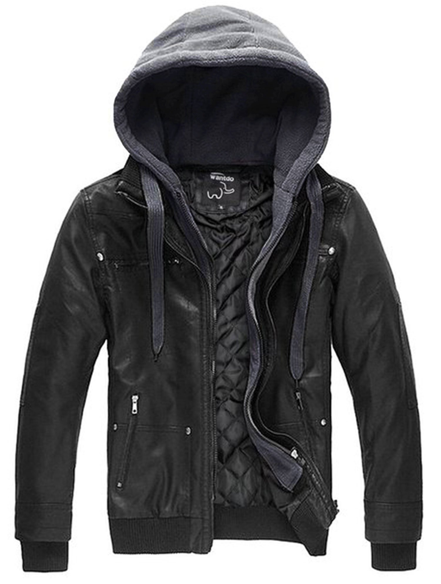 Wantdo Men's Leather Jacket with Removable Hood US X-Large Black(Heavy) by Wantdo