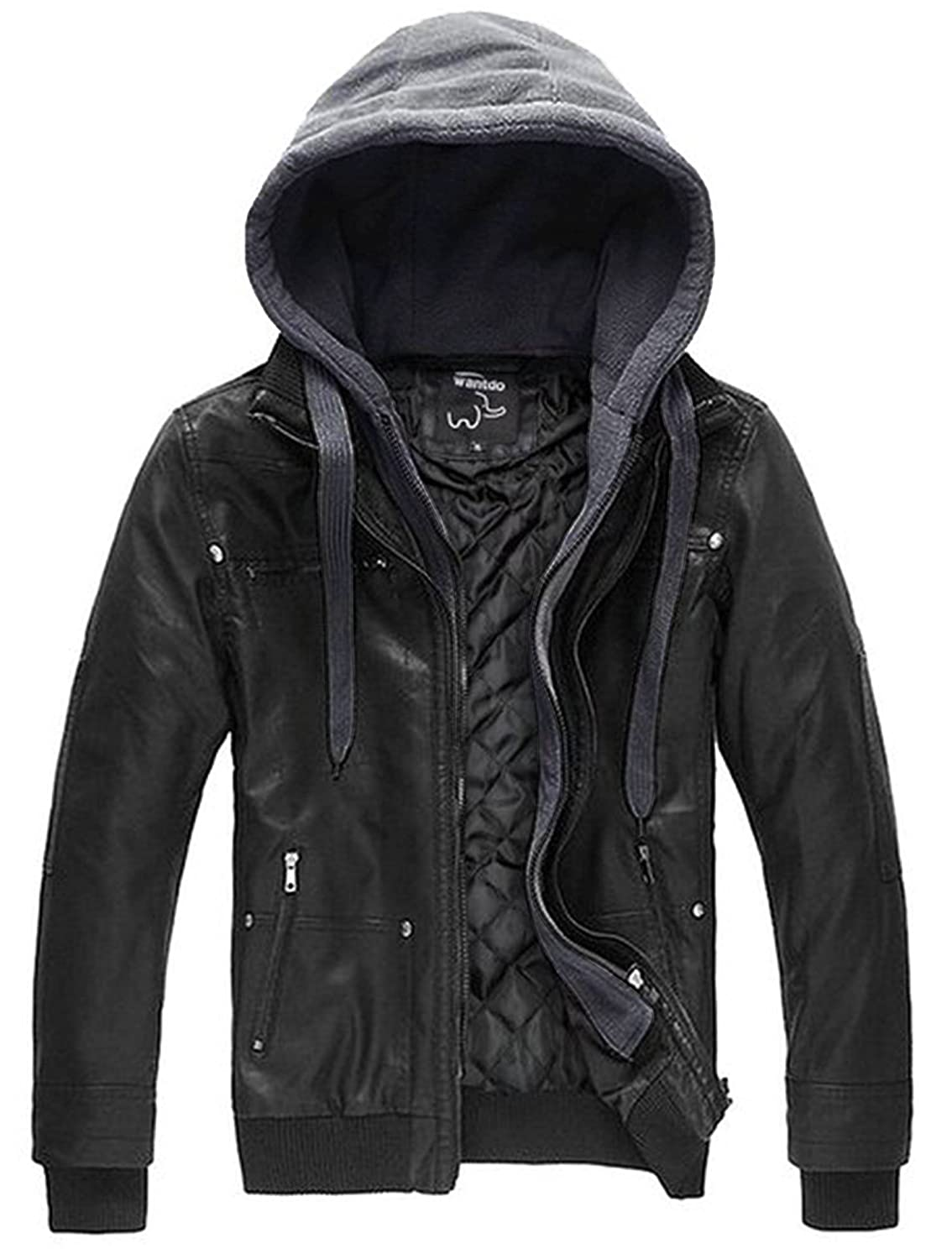 Wantdo Men's Faux Leather Jacket with Removable Hood at Amazon ...