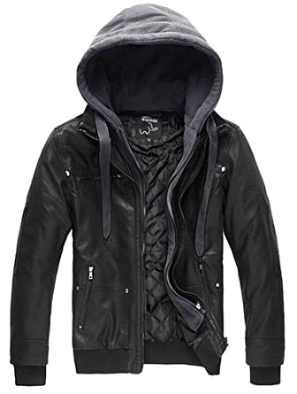 Wantdo Men s Pu Leather Jacket with Removable Hood US Small Black(Heavy) 4d9743e7f