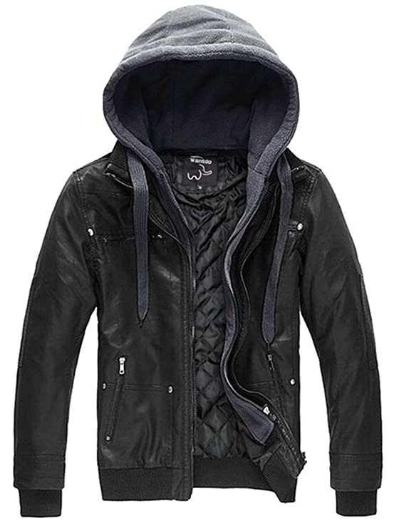Review Wantdo Men's Faux Leather Jacket with Removable Hood