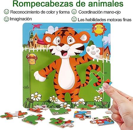 StillCool Puzzles de Madera 9 Piezas, Animales Rompecabezas de Madera Coloridos para Niños Pequeños Aprendizaje Rompecabezas Educativos Juguetes para Niños y Niñas 3-5 Años de Edad (6 Puzzles)