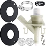 2 Pieces 385311462 RV Toilet Bowl Seal Toilet Rubber Flush Ball Seal with Plastic Water Valve Kit 385311641 Fit for 300 310 320 Series Compatible with Dometic Sealand Mansfield VacuFlush Toilet