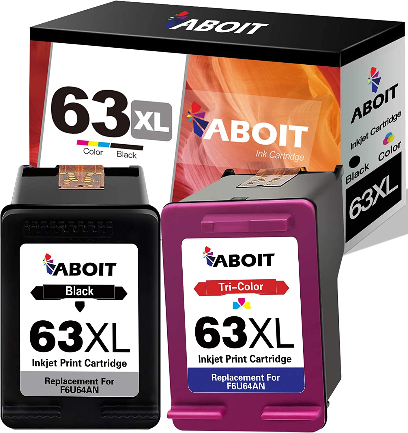 ABOIT Remaunfactured 63XL Ink Cartridge Replacement for HP 63 63 XL 63XL Ink to use with HP OfficeJet 3830 Envy 4520 4512 Officejet 4650 5255 Deskjet 1112 3634 3632 Printer (2 Pack)