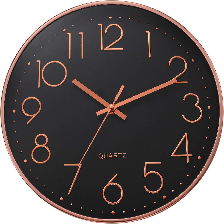 ufengke Reloj de Pared Numeros 3D Oro Rosa Negro Simple Reloj Quartz Silencioso Moderno Pare Salon Comedor Dormitorio, Diámetro 30cm