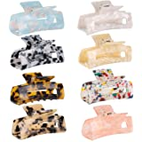 8 Pack Hair Claw Clips Tortoise Barrettes Rectangle Shape Clips Fashion Colorful Hair Clips