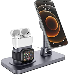 JSDTHL Apple Watch Station- Adjustable Charging Dock for Desk, Compatible with Apple Watch Series 6/5/4/3/2/1/SE and iPhone 12 Mini/12/12 Pro/12 Pro Max and Airpods Pro/3/2/1 (Grey)