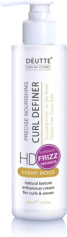 DeUtte Crema definidora de rizos, elixir de Argán para rizado ligero natural de cabello, crema para el pelo rizado 150ml.