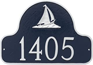"product image for Montague Metal PCS-0080S1-W-NS Sailboat Arch Address Sign Plaque, 11"" x 16"", Navy/Silver"
